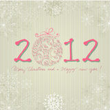 New Year's Card with snowflakes Stock Photos