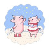 New Year`s card with two lovely pigs and stars stock illustration