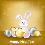 New Year's Card. Vector. New Year's Card Whit Rabbit, Symbol Of New Year 2011, Vector Illustration