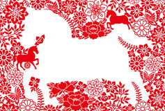 New Year's card. year of the horse. Background of Japanese illustrations.  New Year's card Stock Image
