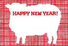 New Year's card. year of the sheep. New Year's card of sheep Royalty Free Stock Photography