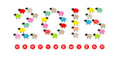 New Years card 2015, year of the sheep. File stock illustration