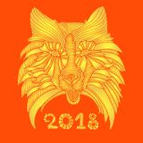 New Year s 2018 card yellow cheerful dog, golden yellow gradient. Color, isolated on red background, vector pattern muzzle dog, cartoon sketch style, hand Stock Photos