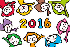 2016 New Year's cards. Many monkeys of 2016 New Year's cards Royalty Free Stock Images