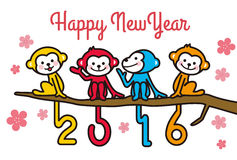 2016 New Year's cards. Many monkeys of 2016 New Year's cards Royalty Free Stock Photo