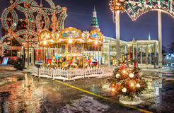 New Year`s Carousel at the Manege Square Royalty Free Stock Image