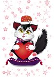 New Year`s cat with a big loving heart in a hurry to the squares for the holiday vector illustration