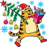 New Year's cat with Christmas tree in 2011. New Year's red cat with Christmas tree in 2011 Royalty Free Stock Photos