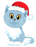 The new year's-cat sit. Isolated on white. Vector illustration Royalty Free Stock Images