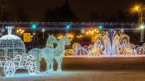 New Year`s Cathedral Square with christmas decorations in the center of Belgorod city. LED light horses with a carriage decoration. Belgorod, Russia - January 8 Stock Image