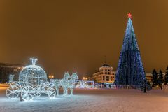 New Year`s Cathedral Square with christmas decorations and lights fir-tree in the center of Belgorod city