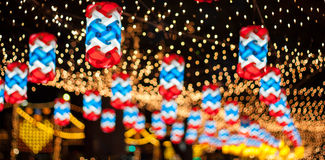 New Year's celebrations,  decorated with lights at. Christmas and New Year's celebrations,  decorated with lights at night Royalty Free Stock Photo