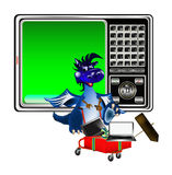 New Year's celebratory sales at a discount. Dark blue dragon a symbol of new 2012 on east calendar stock illustration