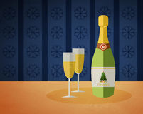 New Year's champagne bottle and two glasses. With a drink Royalty Free Stock Photos