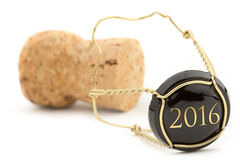New Year's champagne cork. Isolated on white Stock Photos