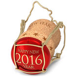 New year's champagne cork. On white stock illustration