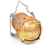 New year's 2017 champagne cork. On white Royalty Free Stock Photos