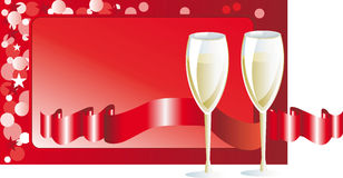 New Year's champagne by the glass. At a New Year background with ribbons Stock Photography