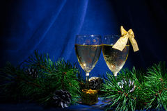 New year's champagne glasses. Stock Photo