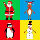 New Year`s characters, Santa Claus deer snowman and penguin royalty free illustration