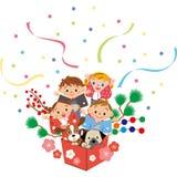 New Year`s children vector illustration