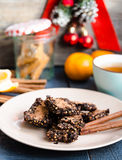 New Year's chocolate cookies with green buckwheat Royalty Free Stock Photos