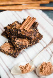 New Year's chocolate cookies with green buckwheat Stock Images