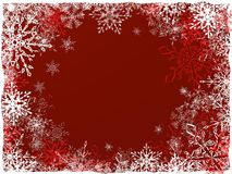 New Year's and Christmas background. Nice Christmas and New Year red background with different beautiful snowflakes Stock Images