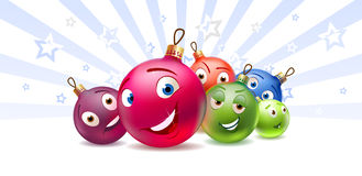 New Year's and Christmas balls Cartoon characters. Christmas and New Year's balls are drawed as cartoon characters. Very funny Royalty Free Stock Image