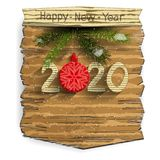 New Year`s or Christmas banner with Christmas-tree red ball and numbers on a wooden panel. Isolated element on white background. New Year`s or Christmas banner stock illustration