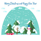 New Year's and Christmas cards. Fir trees in the snow next to a snowman wearing a scarf, snow, giftsunder the Christmas tree. Stock Images