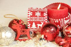 New year`s and Christmas decoration in red and silver color royalty free stock photography