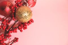 New year`s and christmas decoration in red and gold color. New year`s and Christmas celebrating original decoration in red and gold colors Royalty Free Stock Photography