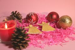 New year`s and christmas decoration in red and gold color. New year`s and Christmas celebrating original decoration in red and gold colors Stock Photos