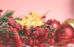 New year`s and christmas decoration in red and gold color. New year`s and Christmas celebrating original decoration in red and gold colors Stock Photography