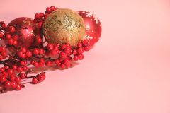 New year`s and christmas decoration in red and gold color. New year`s and Christmas celebrating original decoration in red and gold colors Royalty Free Stock Photo