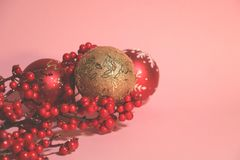 New year`s and christmas decoration in red and gold color. New year`s and Christmas celebrating original decoration in red and gold colors Royalty Free Stock Image