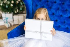 Little girl sitting near the Christmas tree with a New Year`s gift stock photo