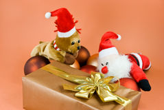 New Year's and Christmas decoration with   gift Royalty Free Stock Photo