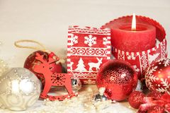 New year`s and Christmas decoration inred and silver color royalty free stock photography