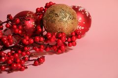 New year`s and christmas decoration in red and gold color. New year`s and Christmas celebrating original decoration in red and gold colors Royalty Free Stock Images