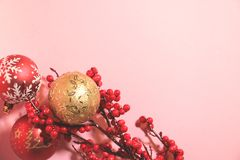 New year`s and christmas decoration in red and gold color. New year`s and Christmas celebrating original decoration in red and gold colors Stock Image