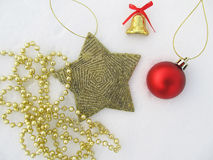 New Year`s and Christmas decorations set of stars, bells, ball Stock Photo