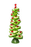 New Year`s Christmas fir-tree from the figured cut cucumbers and pomegranate Stock Images