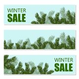 New Year s Christmas. Flyer, business cards, postcards. invitations to the winter sale. Green tree branches close-up. Vector Illustration Stock Photography