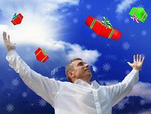 New Year's and Christmas gifts. Give to people happiness and good mood for a year Stock Photos