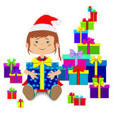New Year`s or Christmas gifts and child Royalty Free Stock Photo