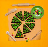 New Year's and Christmas gingerbread trees (ginger and honey coo Stock Images
