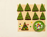 New Year's and Christmas gingerbread trees (ginger and honey coo Royalty Free Stock Photography