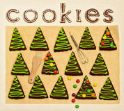 New Year's and Christmas gingerbread trees (ginger and honey coo Stock Image